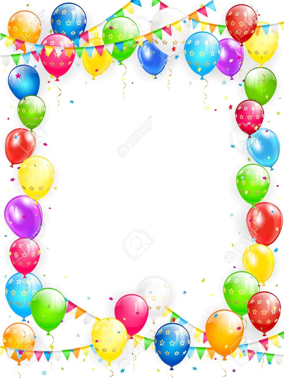 Cadre Anniversaire thème d'anniversaire, cadre de voler des ballons colorés, des