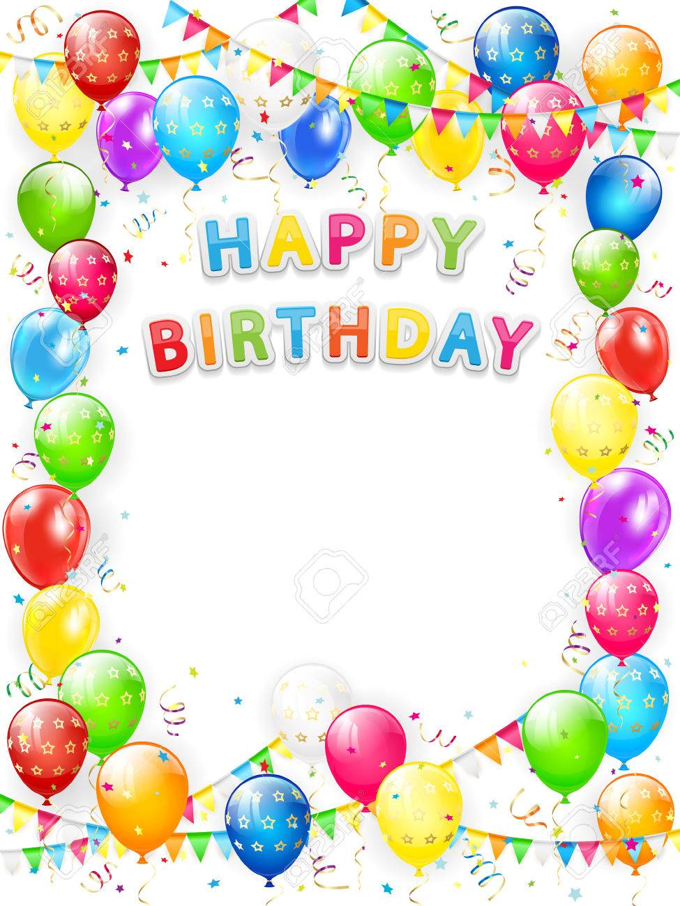 Lettering Happy Birthday Frame Of Flying Colorful Balloons