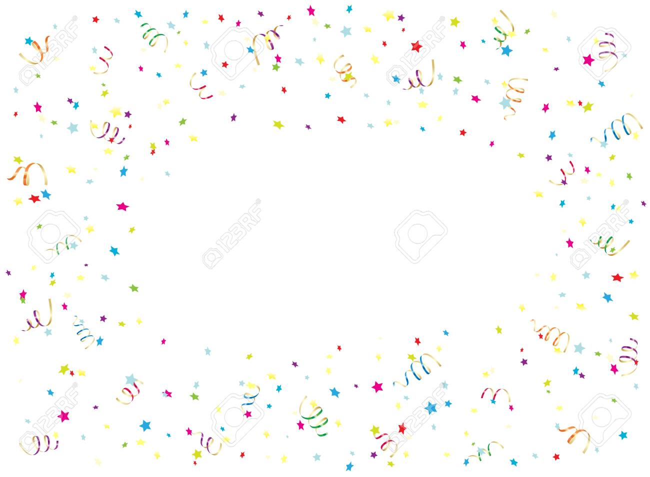 happy birthday background with multicolored streamers and confetti