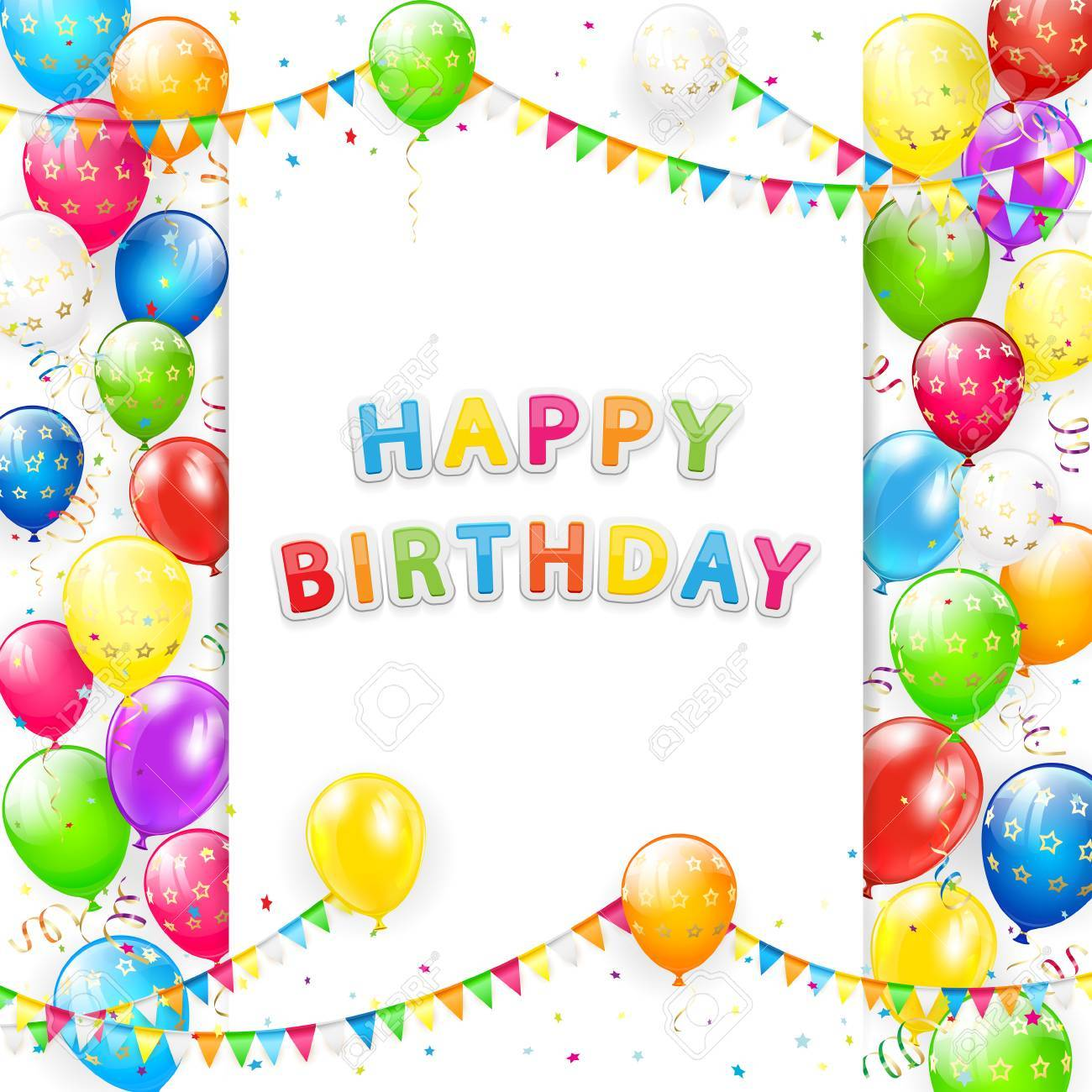 Card With Lettering Happy Birthday. Frame Of Flying Colorful ...