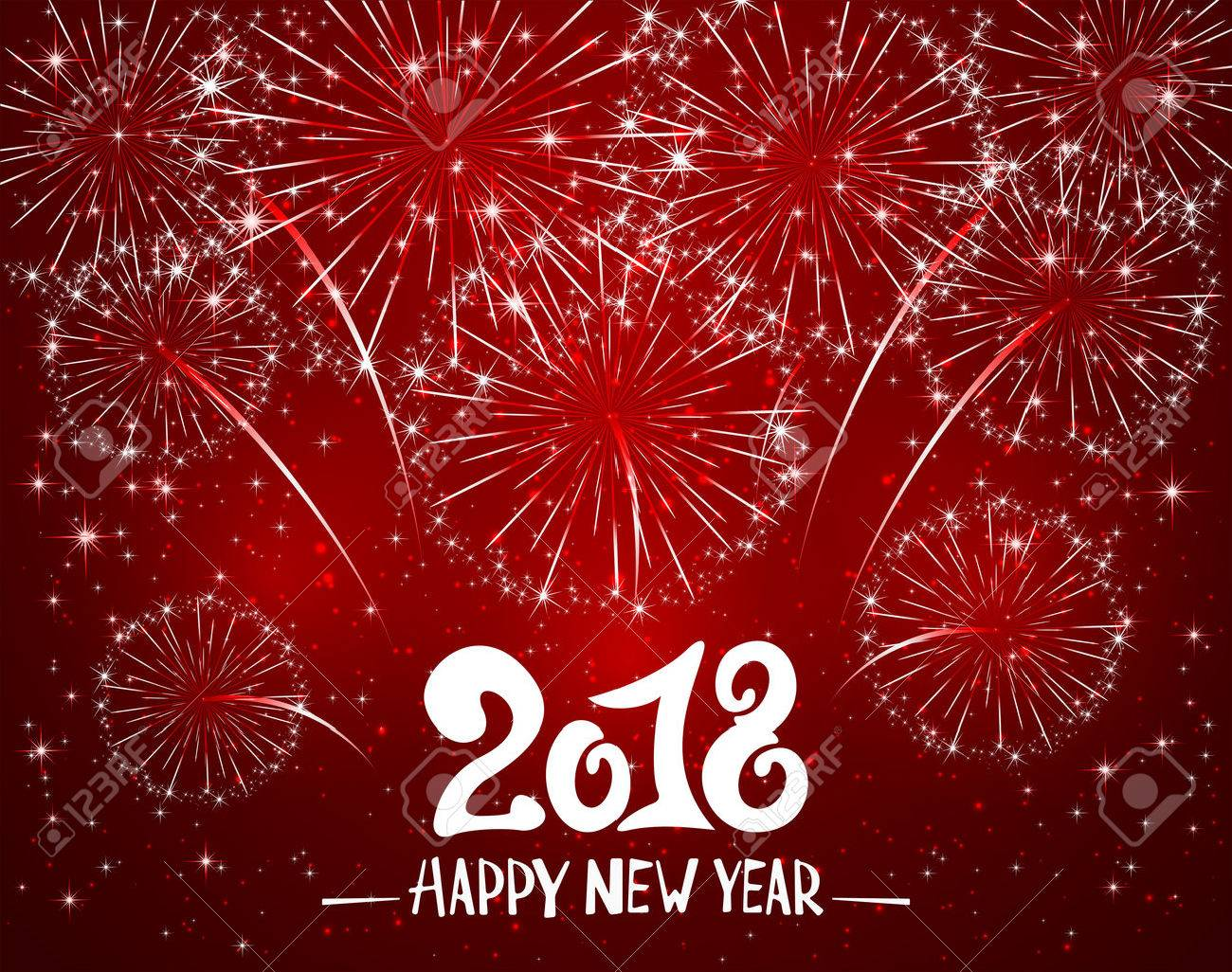 lettering happy new year 2018 and sparkling fireworks on red shiny background holiday greeting