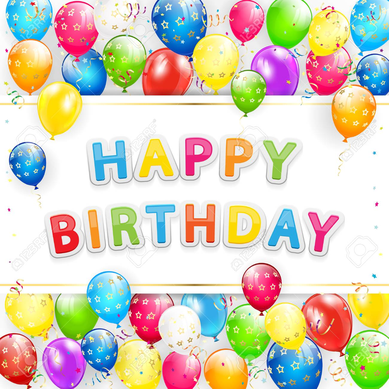 greeting card with lettering happy birthday frame of flying colorful balloons multicolored streamers and