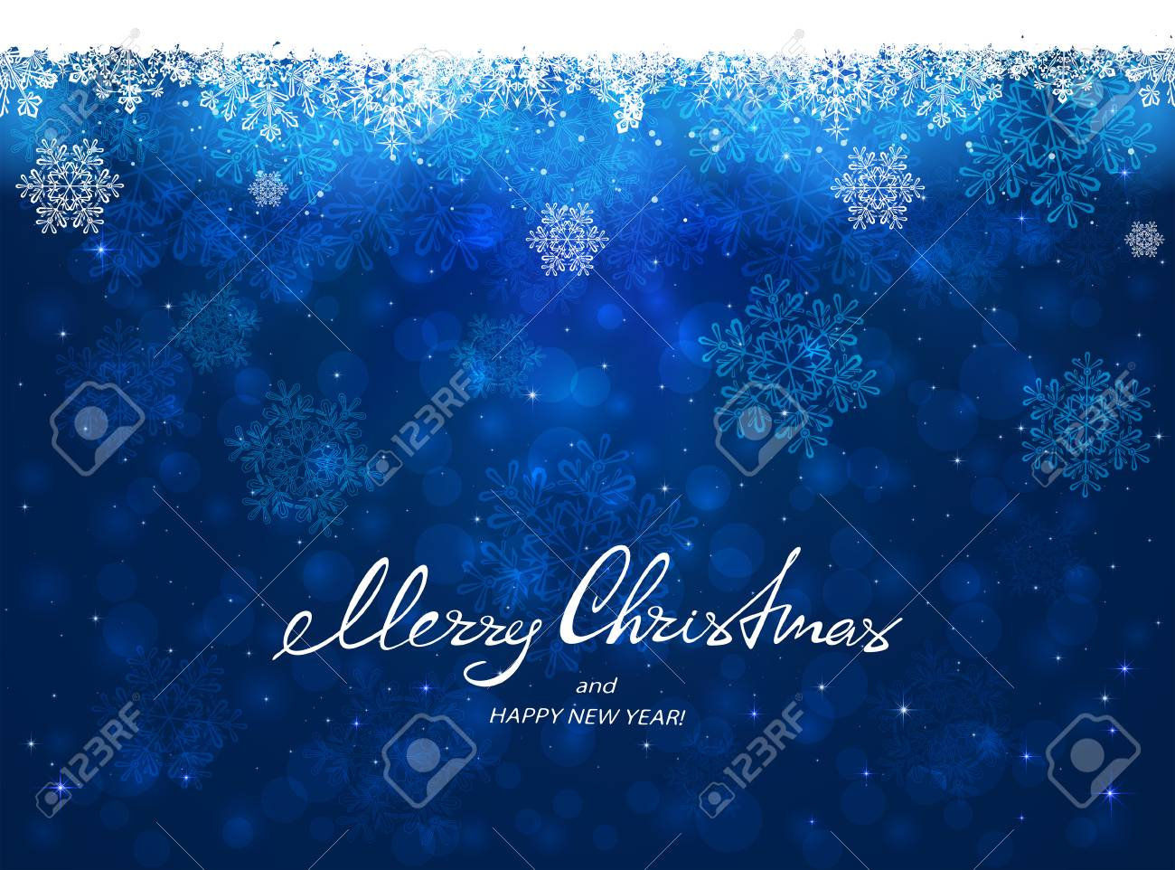 text merry christmas and happy new year on blue background with snowflakes illustration stock