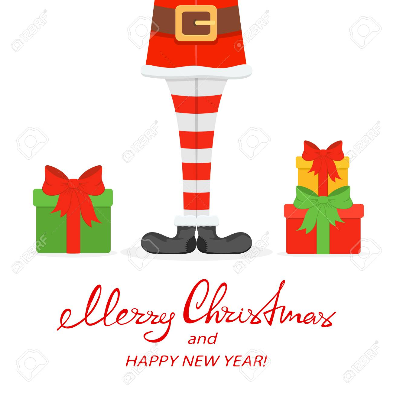 8fecf703df98 Lettering Merry Christmas and Happy New Year with Santa legs in striped  socks and black shoes