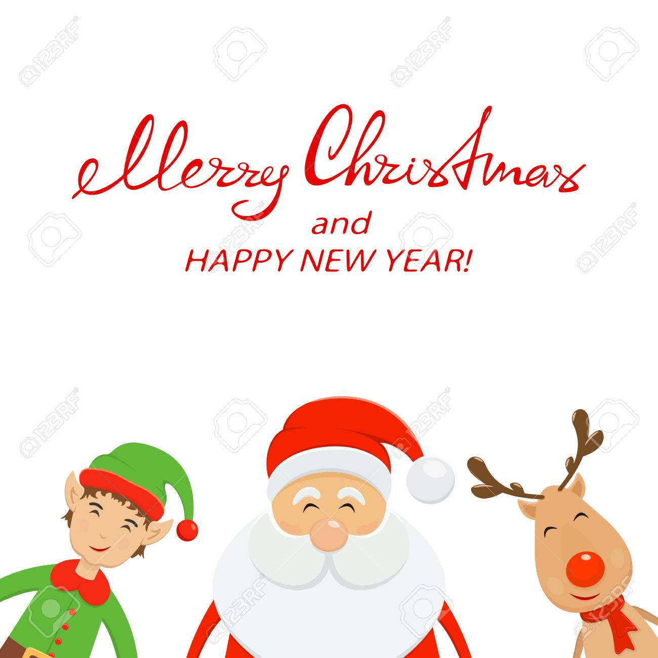 Red Text Merry Christmas And Happy New Year On White Background ...