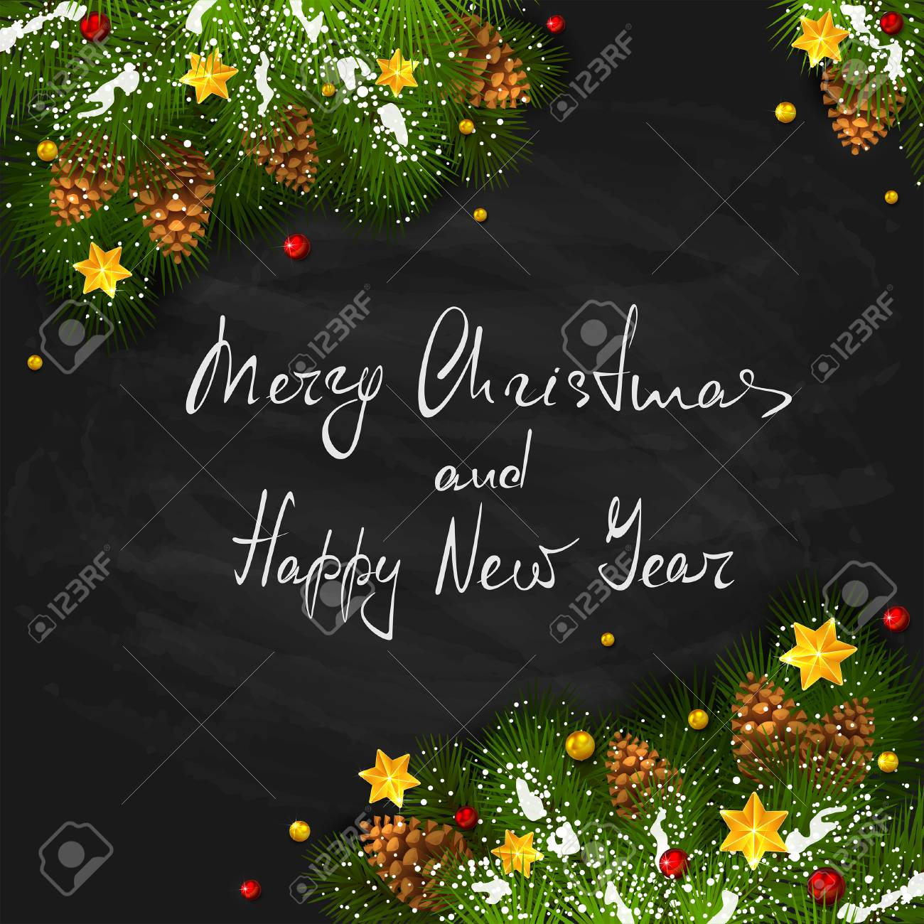 lettering merry christmas and happy new year with holiday decorations on black chalkboard background decorative
