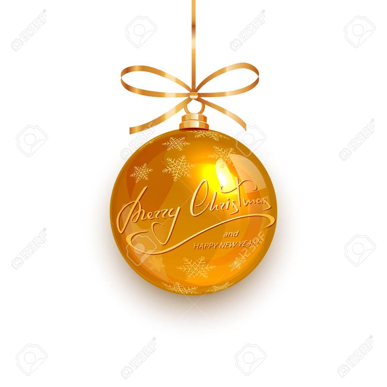 Boule De Noël Or Avec Des Flocons De Neige Dorés Et Lettrage Joyeux