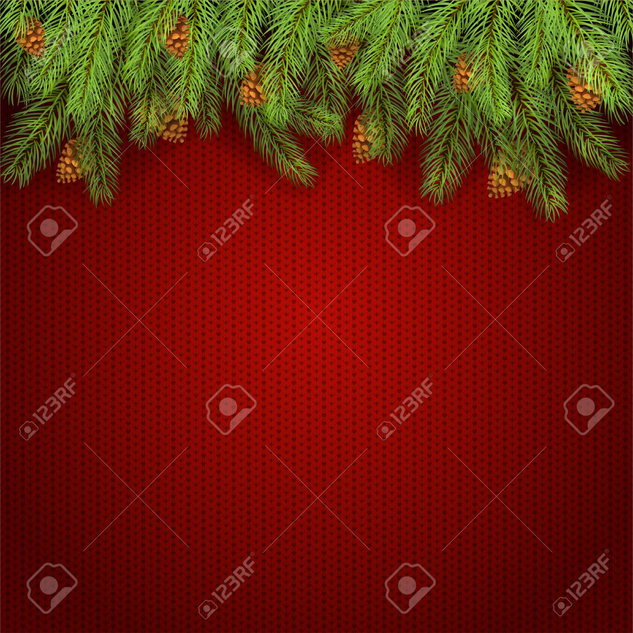 Christmas Background And Spruce Branches With Pine Cones. Holiday ...