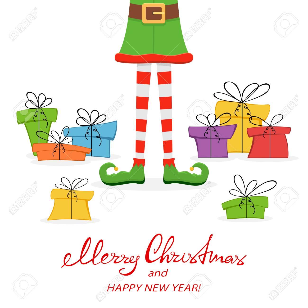 Beschriftung Frohe Weihnachten Und Happy New Year Mit Elf Beinen In ...