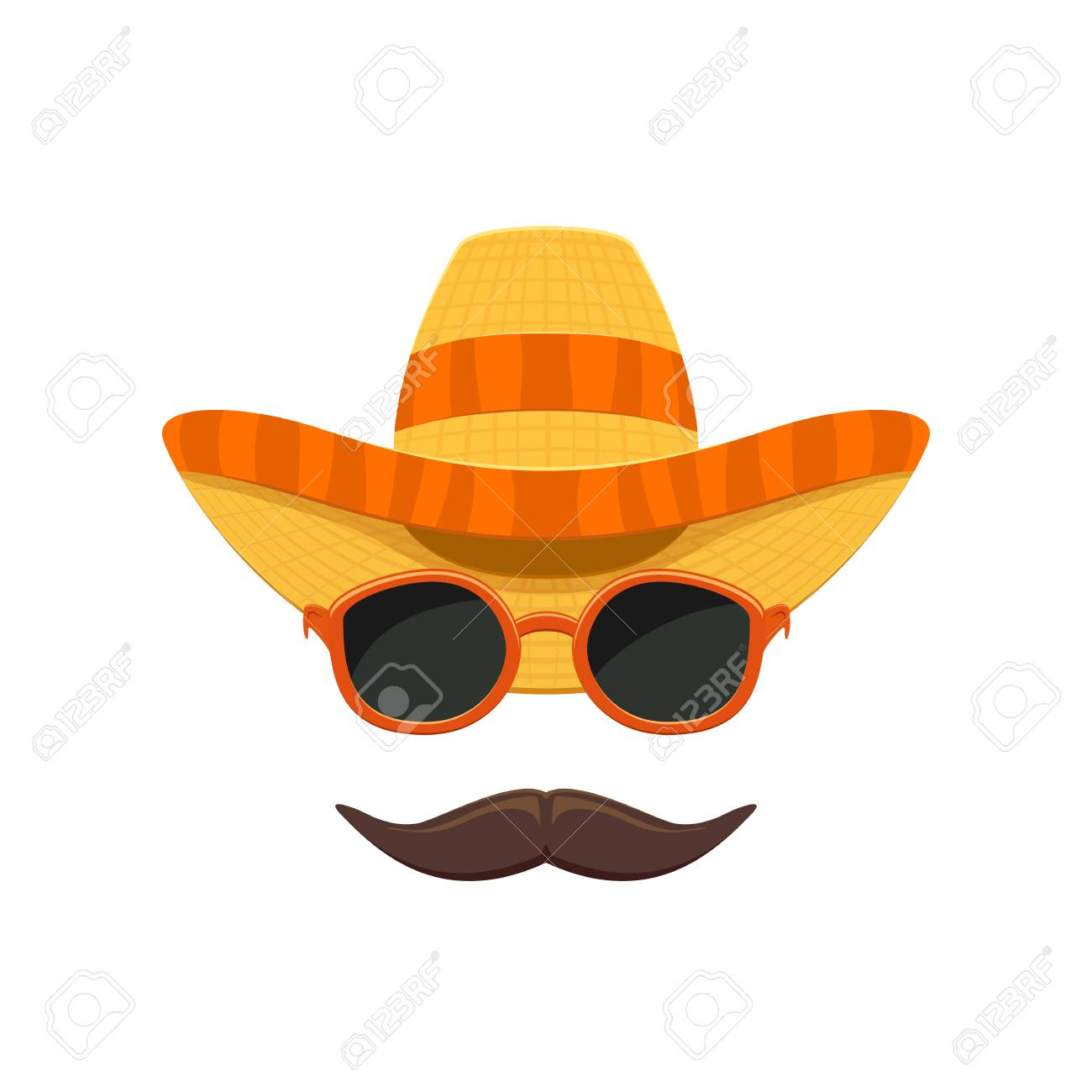 48d2e440900 Mexican sombrero hat with sunglasses and moustache for Cinco de Mayo  isolated on white background