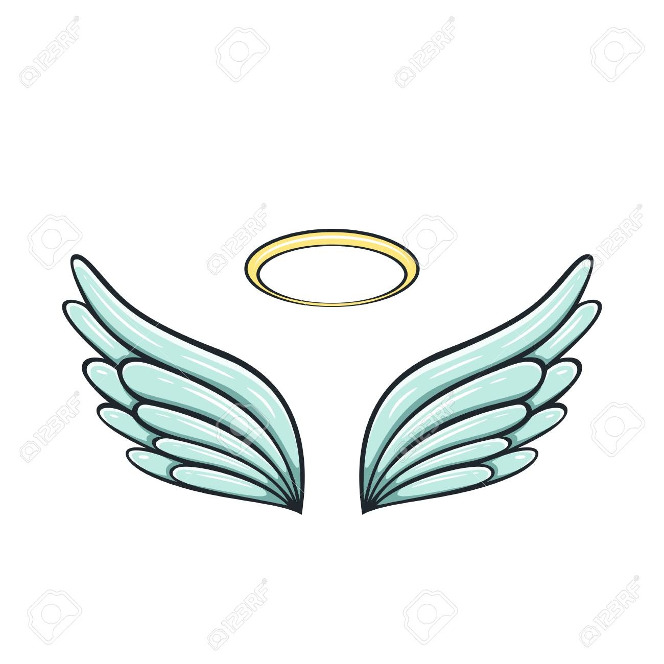 da299b506 Angel wings and halo isolated on white background, illustration. Stock  Vector - 106773283