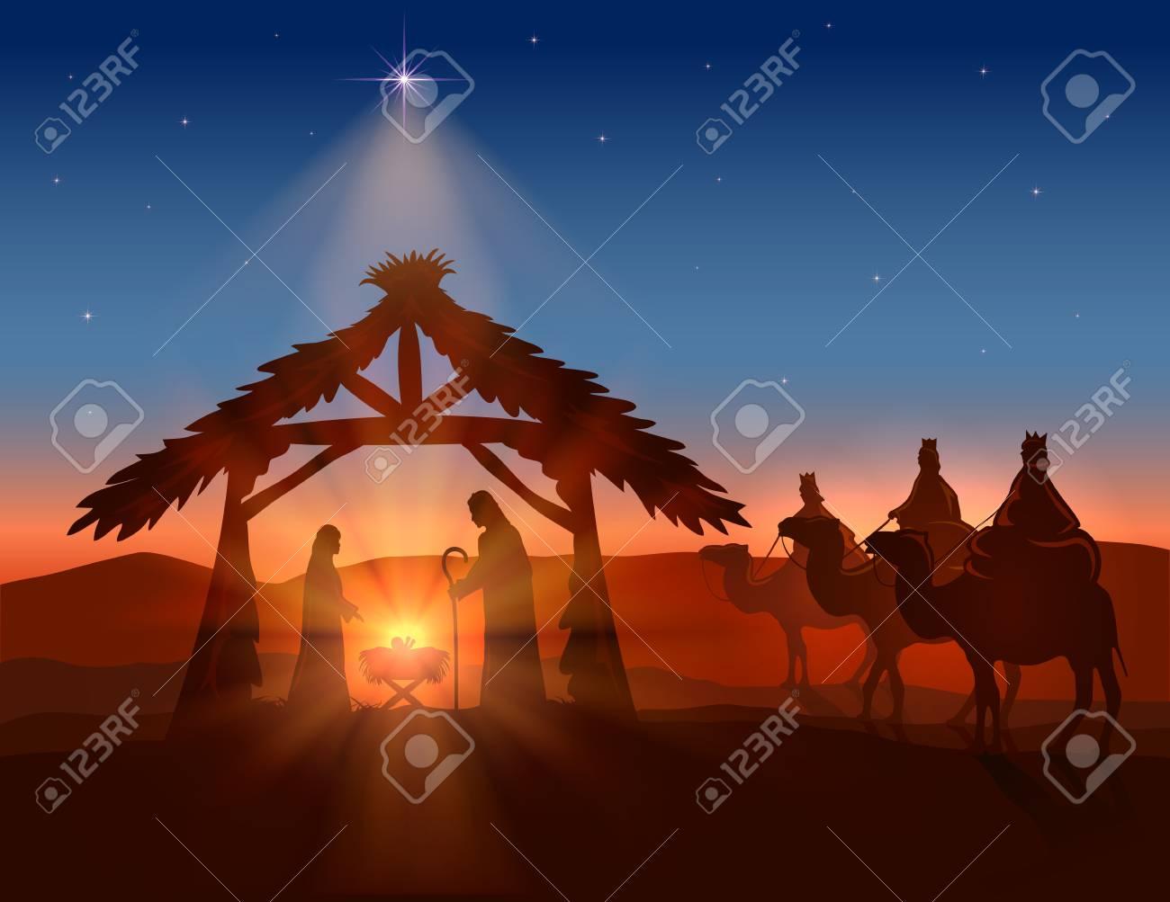 Christmas Background Christian.Christian Christmas Background Birth Of Jesus Shining Star