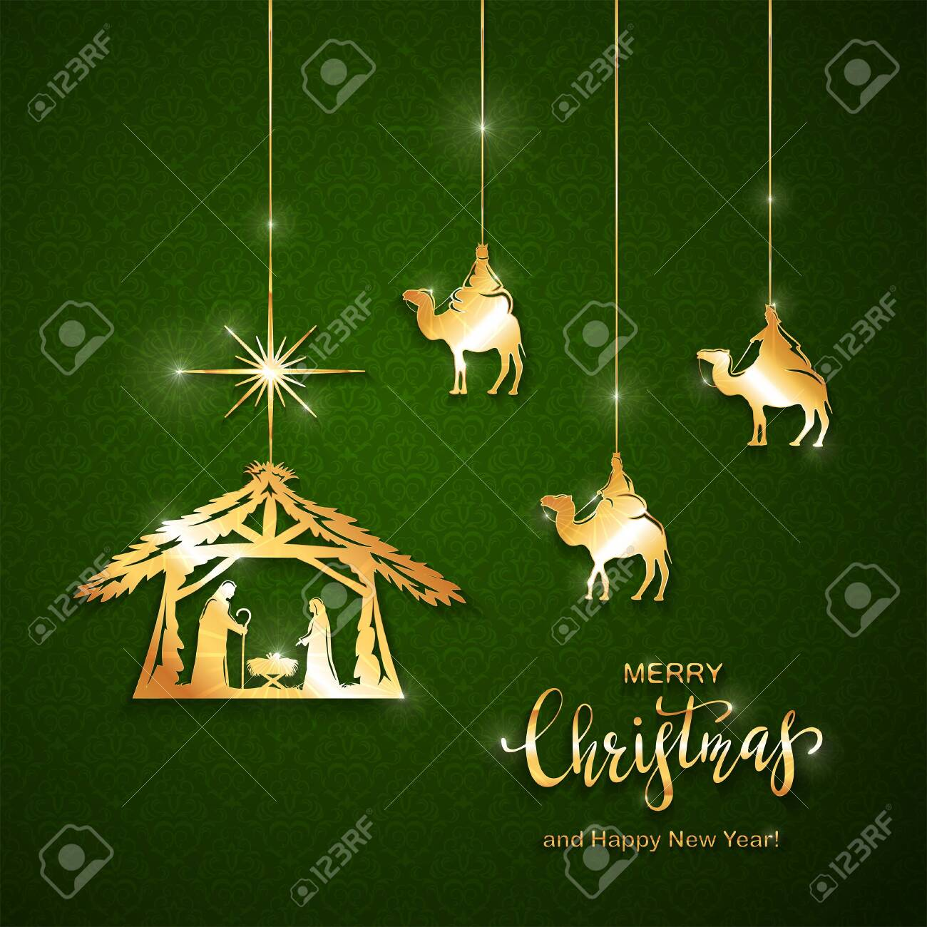 Christian Christmas Theme Golden Elements On Green Background Royalty Free Cliparts Vectors And Stock Illustration Image 134339641