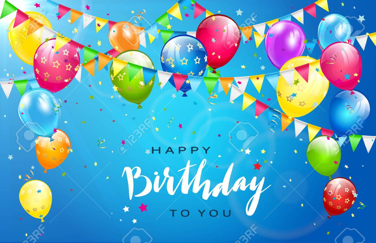 Lettering Happy Birthday on sunny blue background. Flying colorful balloons, multicolored pennants and confetti. Illustration can be used for holiday design, posters, cards, website, banners. - 146643447