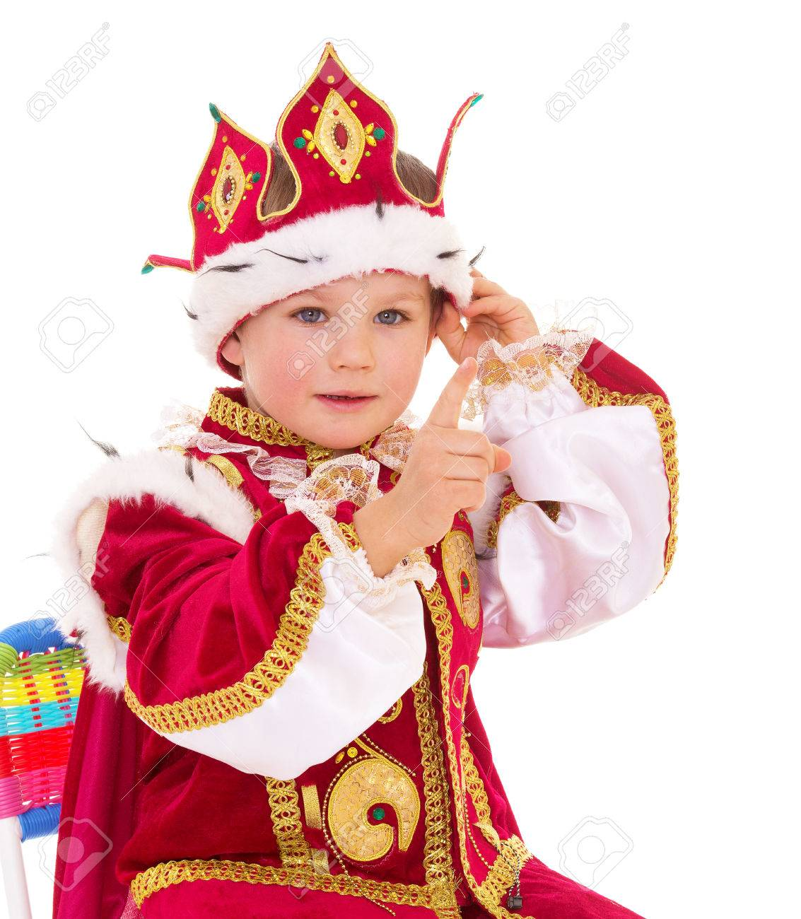 The little boy dressed as a king, isolated on white background - 28183557