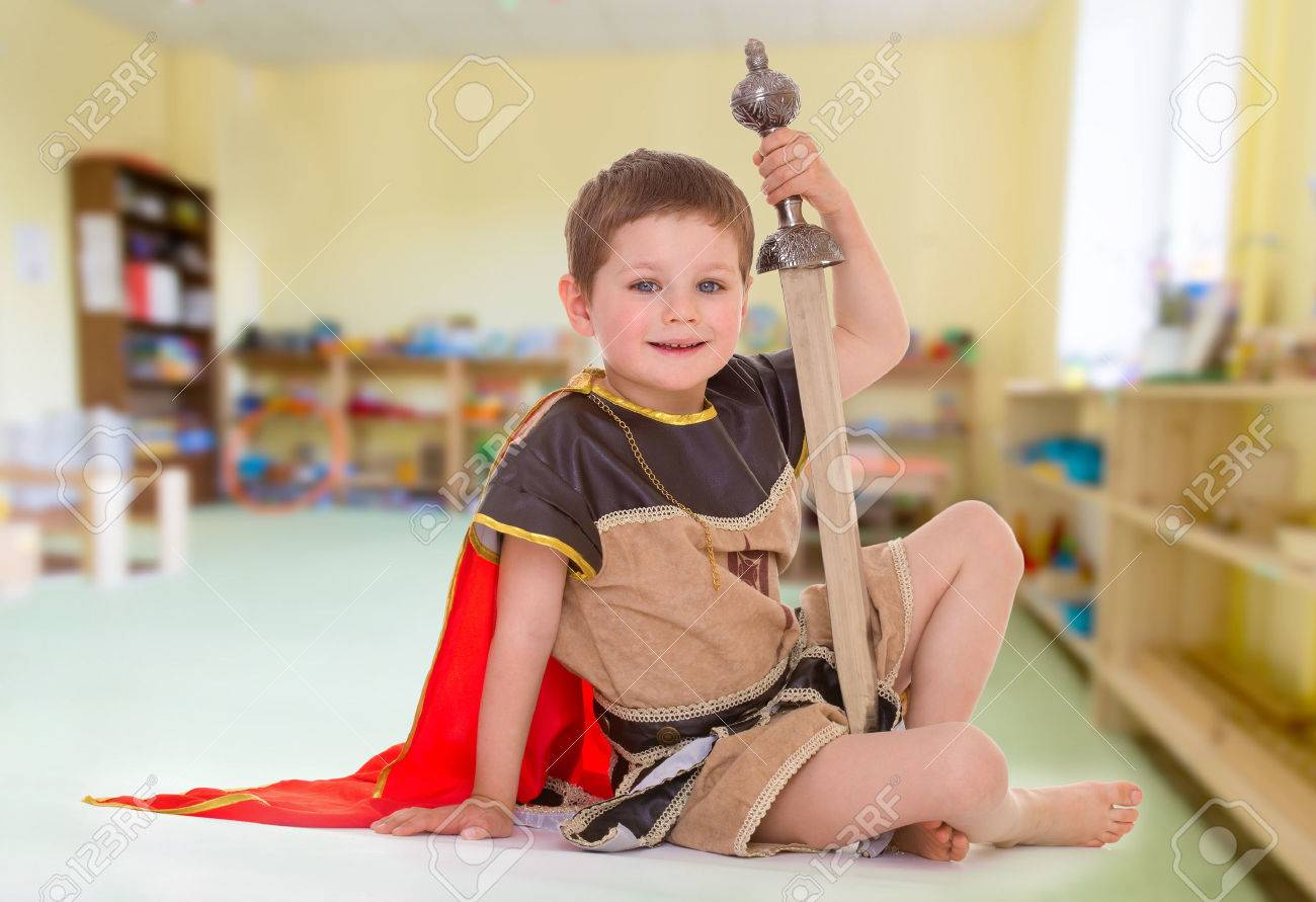 little boy dressed as a roman soldier stock photo picture and