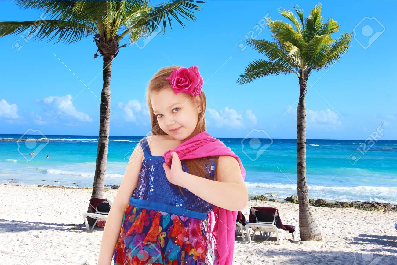 3a2a701e85 Girl Summer Dress On A Tropical Beach.spring Season