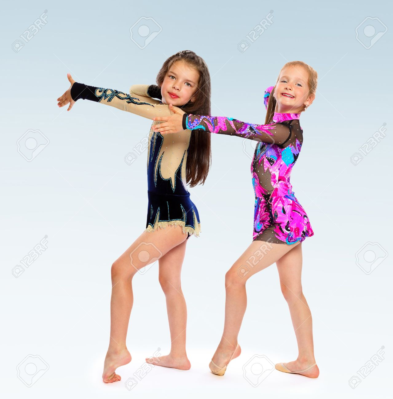 Two Girls Gymnast Gymnastic Exercises Shows Costumes Stock Photo