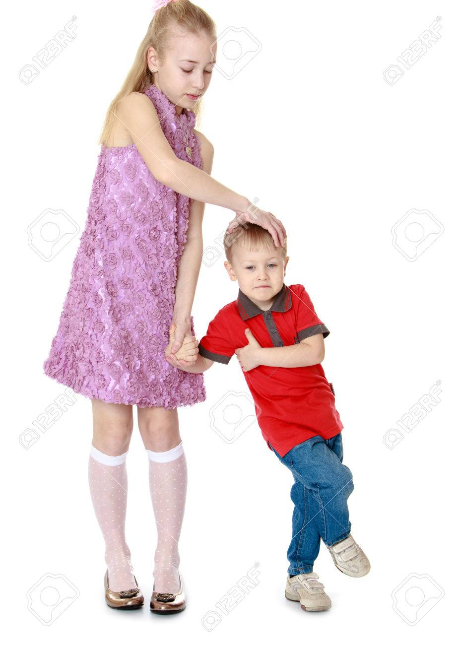 Big Sister And Little Brother In The Studio Isolated On White Stock Photo Picture And Royalty Free Image Image 37623016
