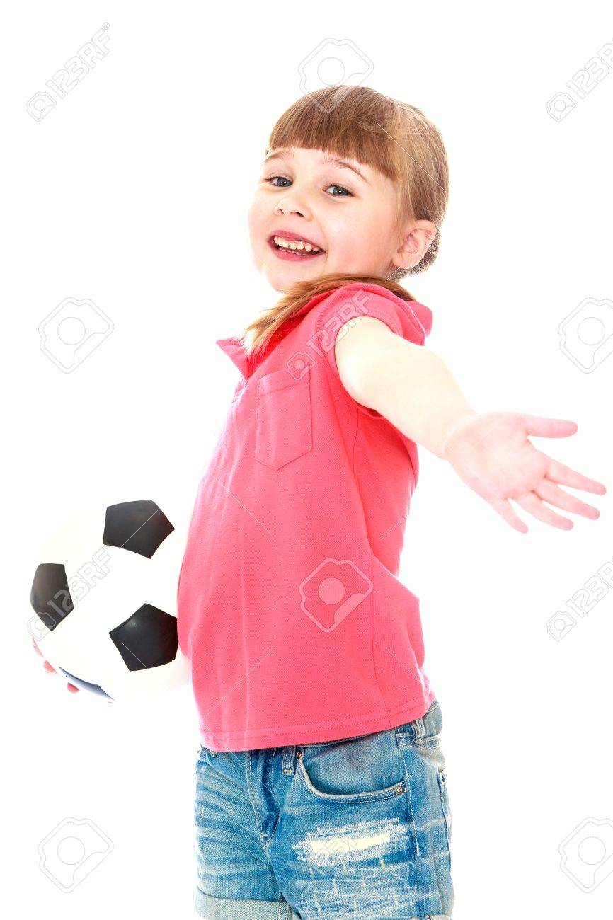0e2996b91 Beautiful little blonde girl with short bangs and grey eyes holding a soccer  ball