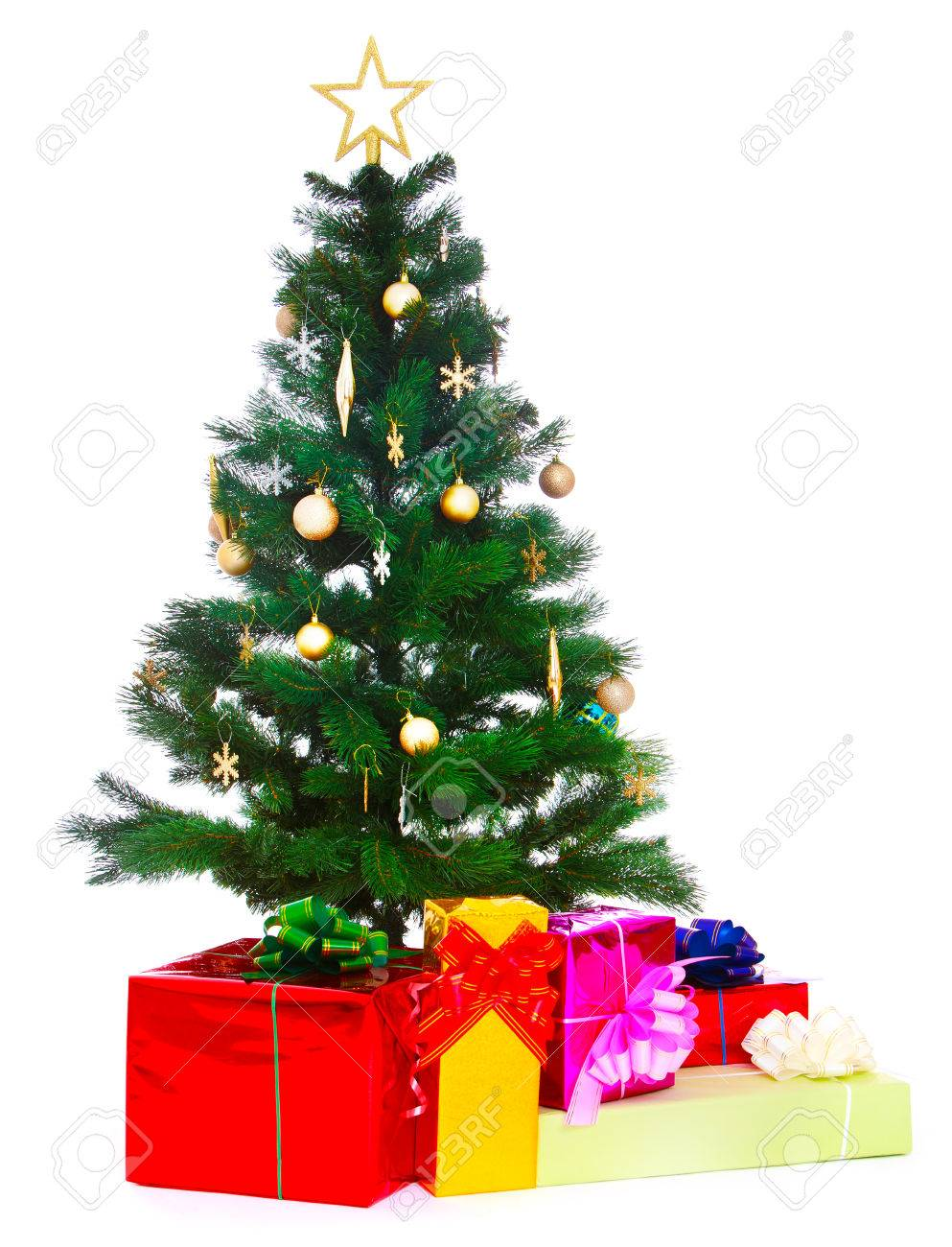 Christmas Tree And Colorful Gifts Which Lie Next To Her-Isolated ...