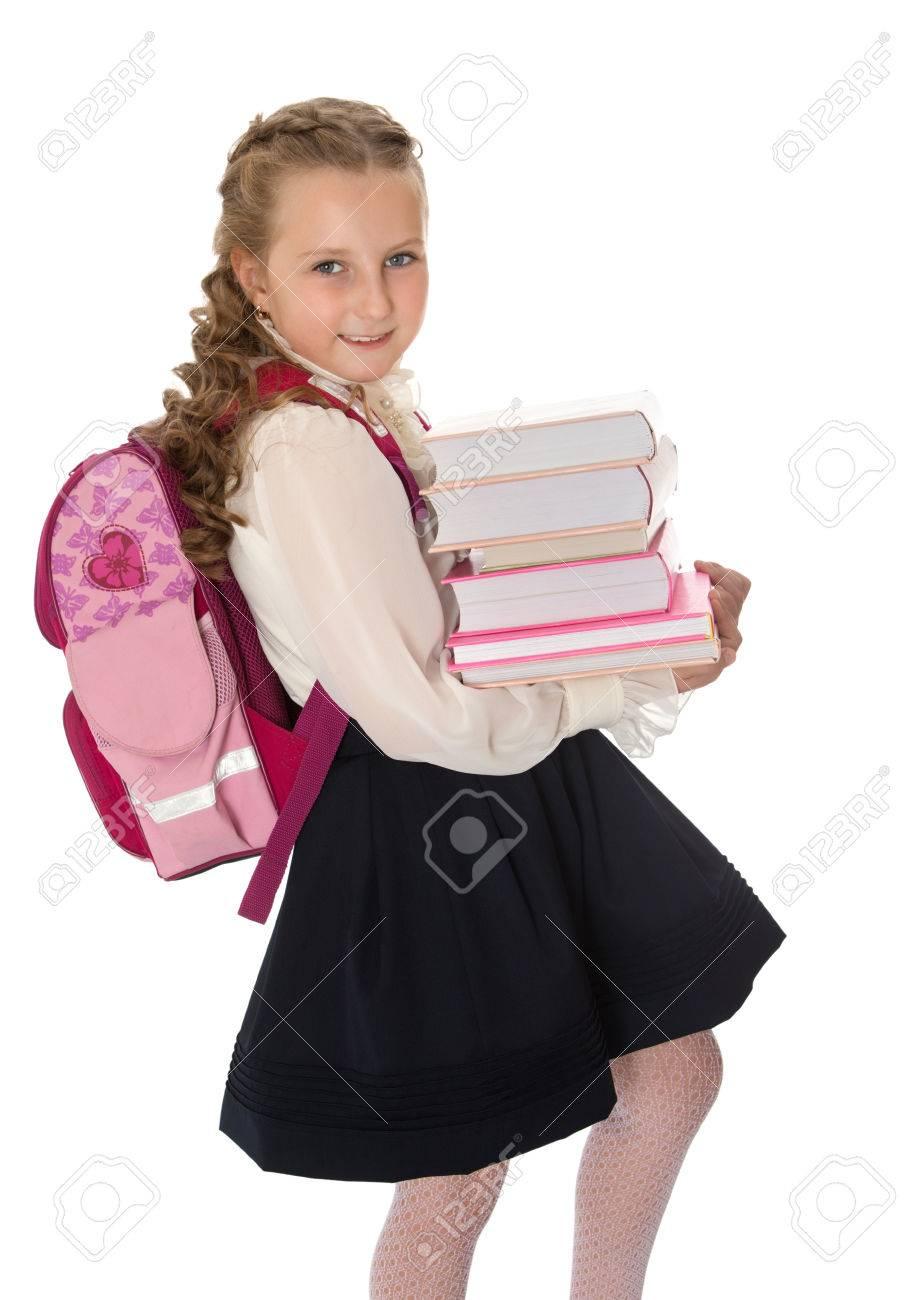1597e8c1720169 Blij meisje schoolmeisje in een witte blouse AI zwarte lange rok draagt    een zware