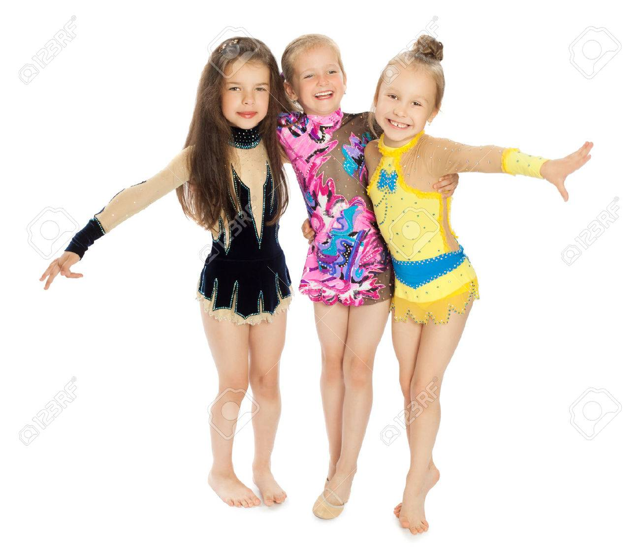Three beautiful girls beautiful girls sports swimsuits hugging each other.Isolated on white background - 48440506