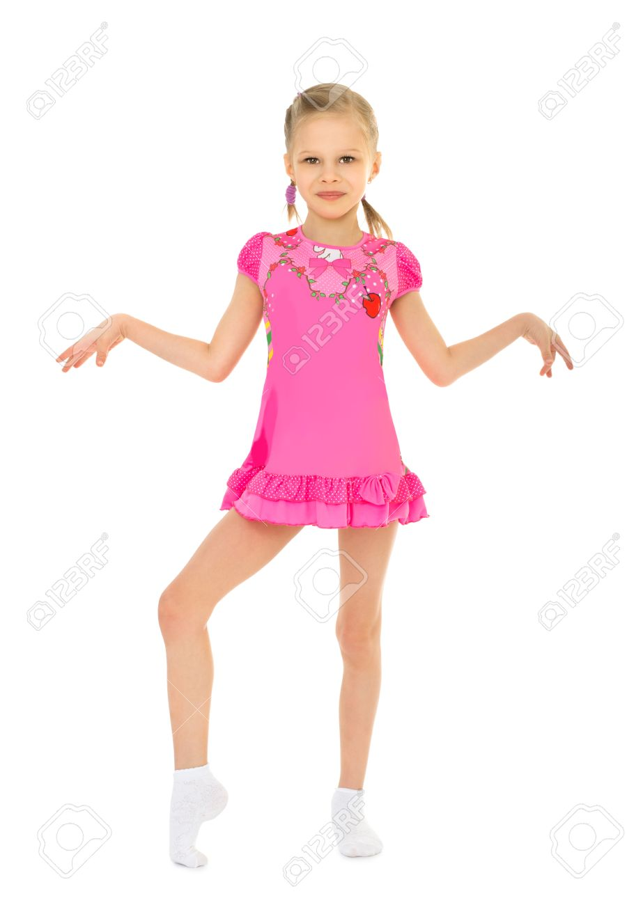 3d15d4ca3644 Stylish Little Girl Ballerina In Pink Short Dress Shaking His ...