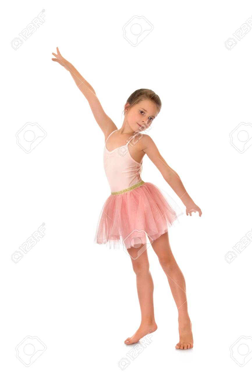 ecccc64202dc Charming Slender Little Girl In A Pink Ballerina Costume - Isolated ...