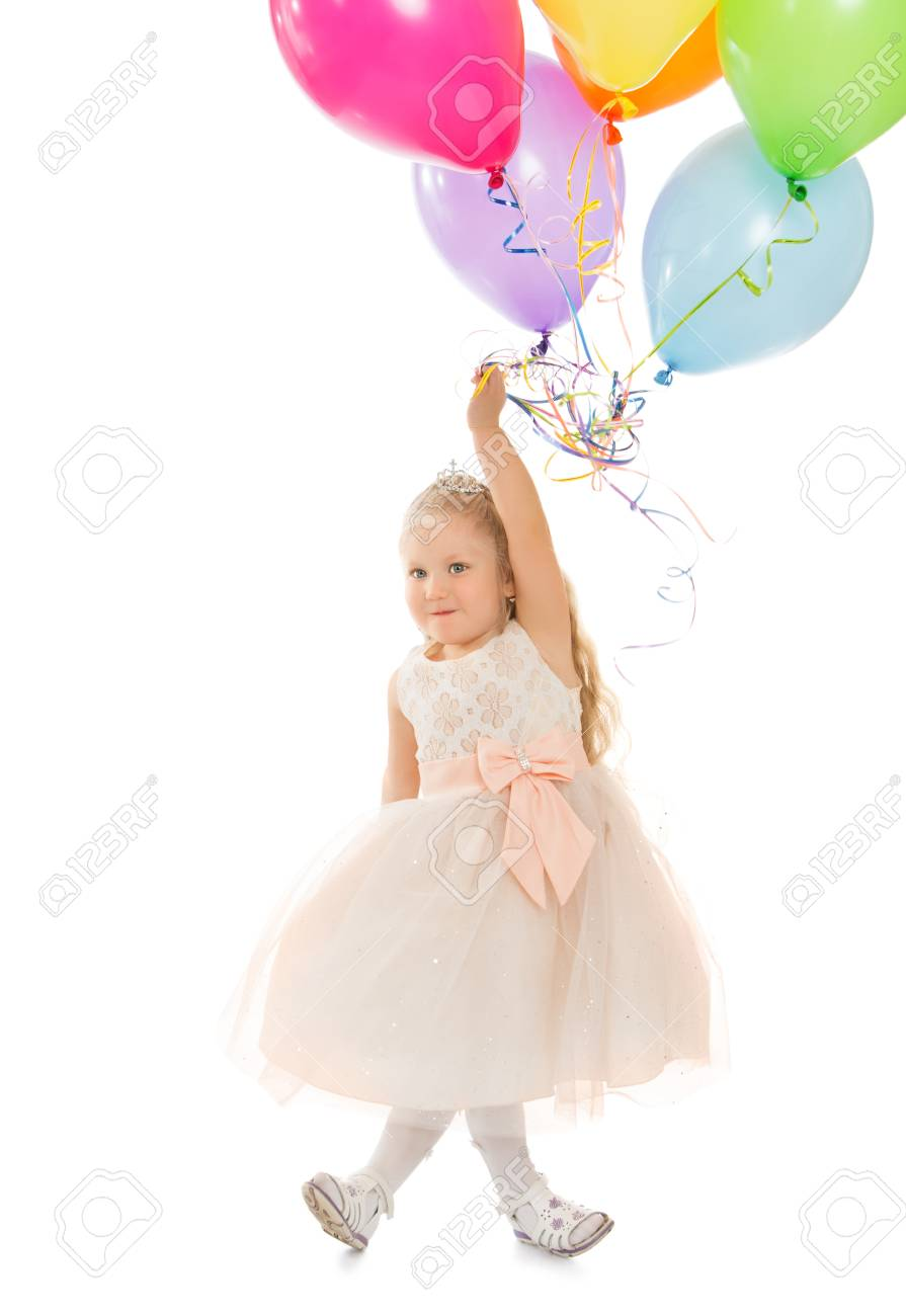 Funny little girl in fancy white dress holding a balloons - Isolated on white background - 59475899