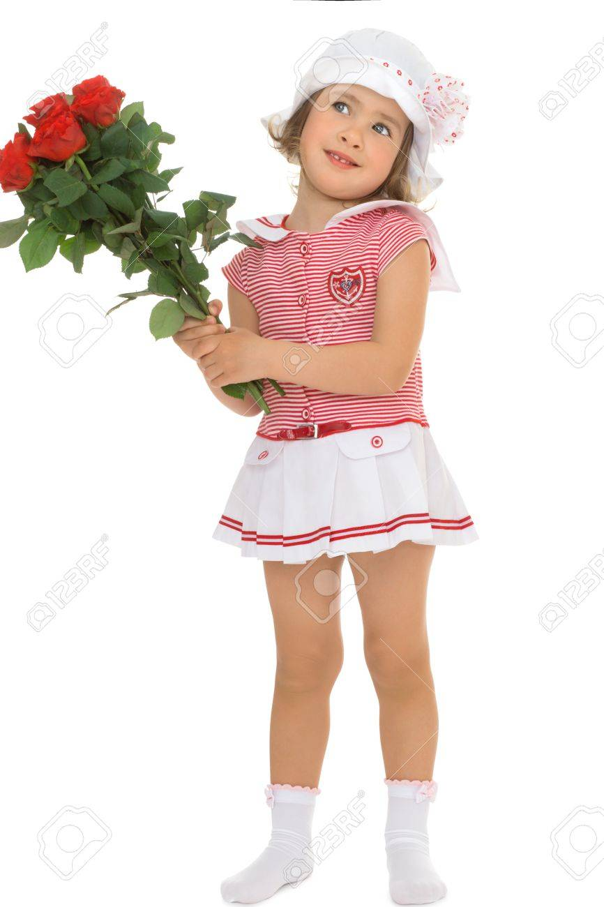 059bf1281fd0 Cute Little Girl In Short Dress And White Hat Holding A Bouquet ...