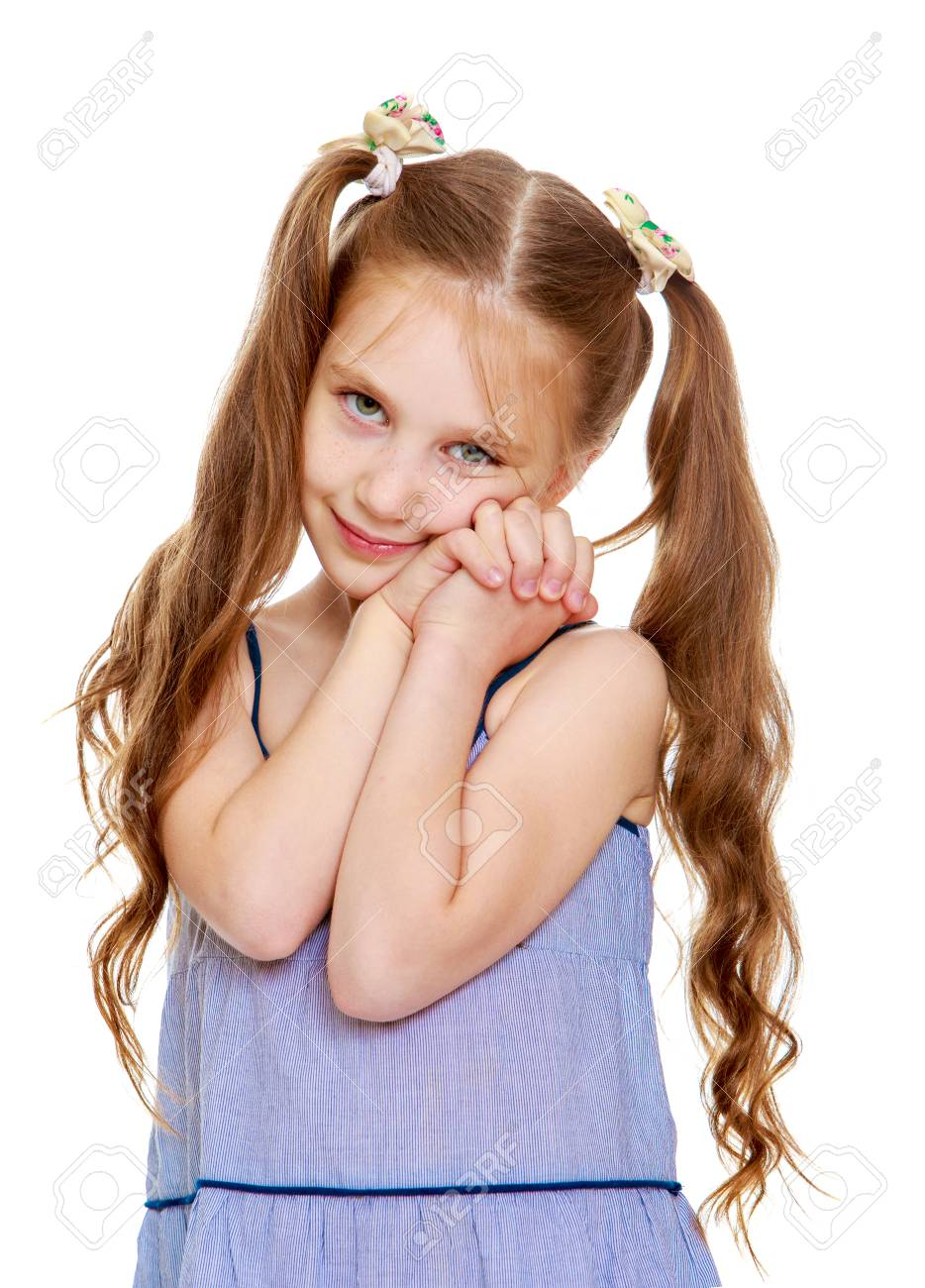 Marvelous Beautiful Little Girl With Long Ponytails On The Head Close Up Schematic Wiring Diagrams Amerangerunnerswayorg