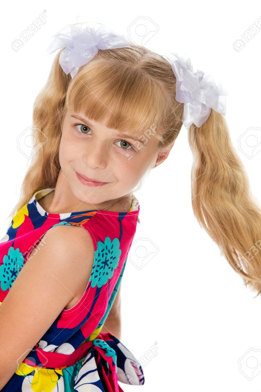 littlegirl tied up Sweet, adorable little girl with long blonde ponytails on her head tied  with white bows