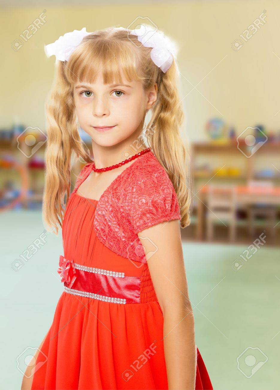 Strange A Very Beautiful Little Girl With Long Blonde Ponytails On Her Natural Hairstyles Runnerswayorg