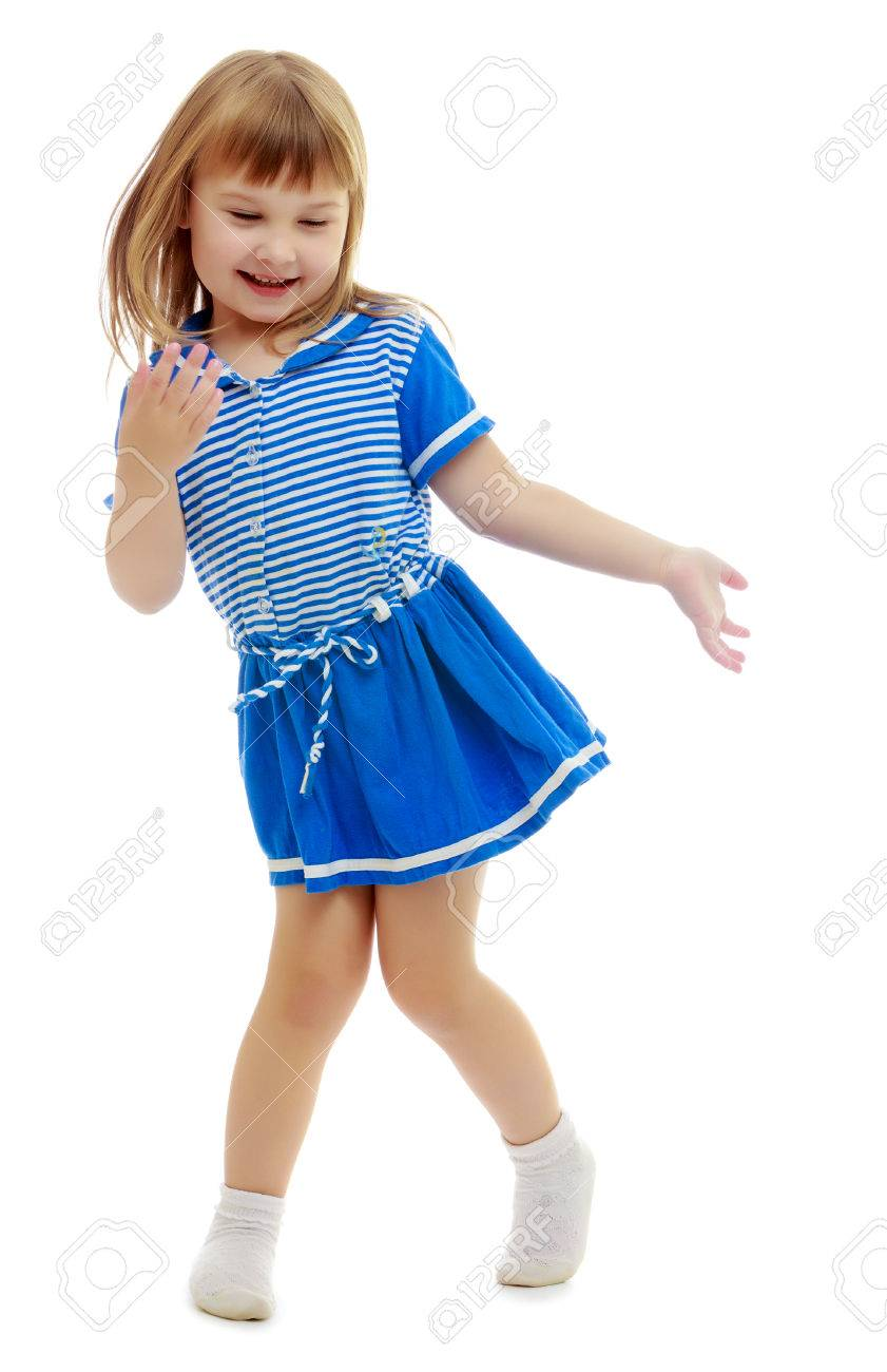 c9909a7469ce Gentle Little Girl In A Short Blue Dress Similar To A Sailor.. Stock ...