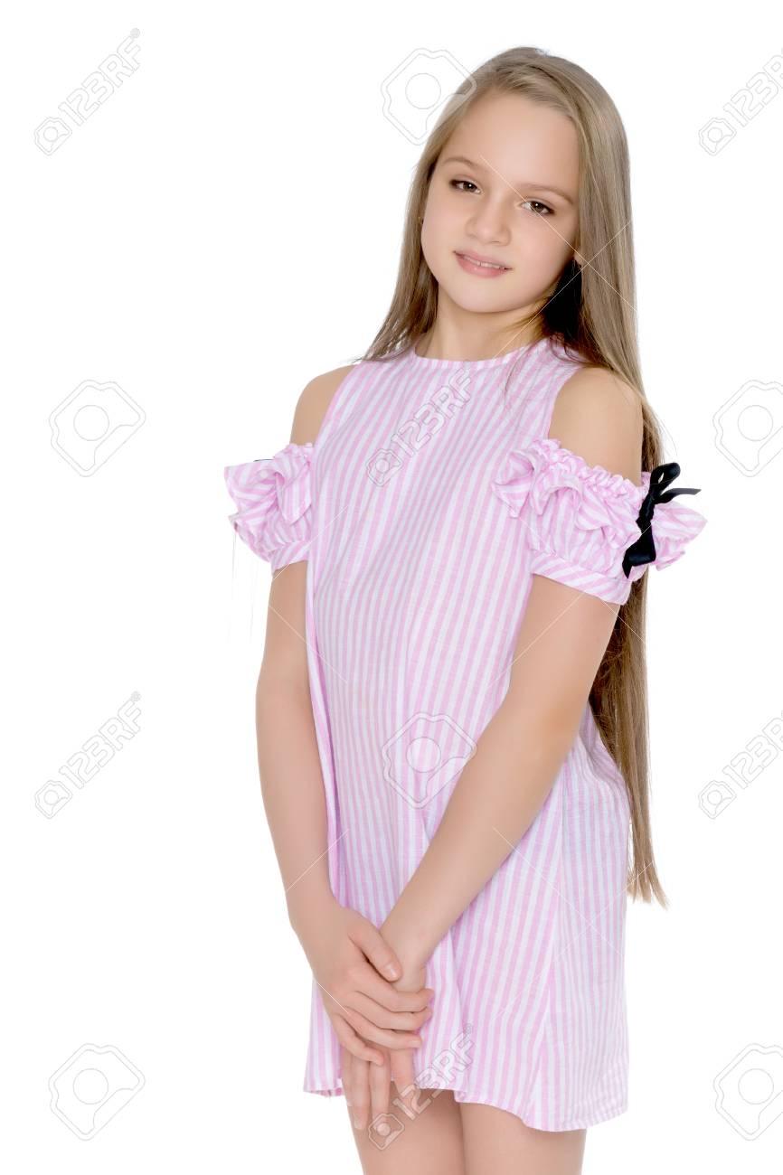 A teenage girl in a short dress. Stock Photo - 97585356 5ac75db2094e