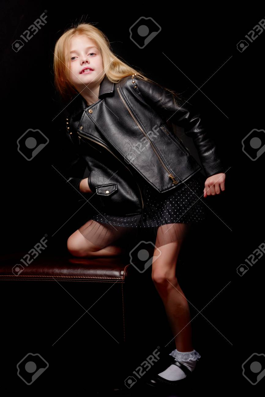 Little girl on a black background - 113139967