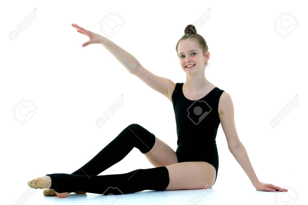 Girl gymnast in black leggings, sport concept. - 131664691