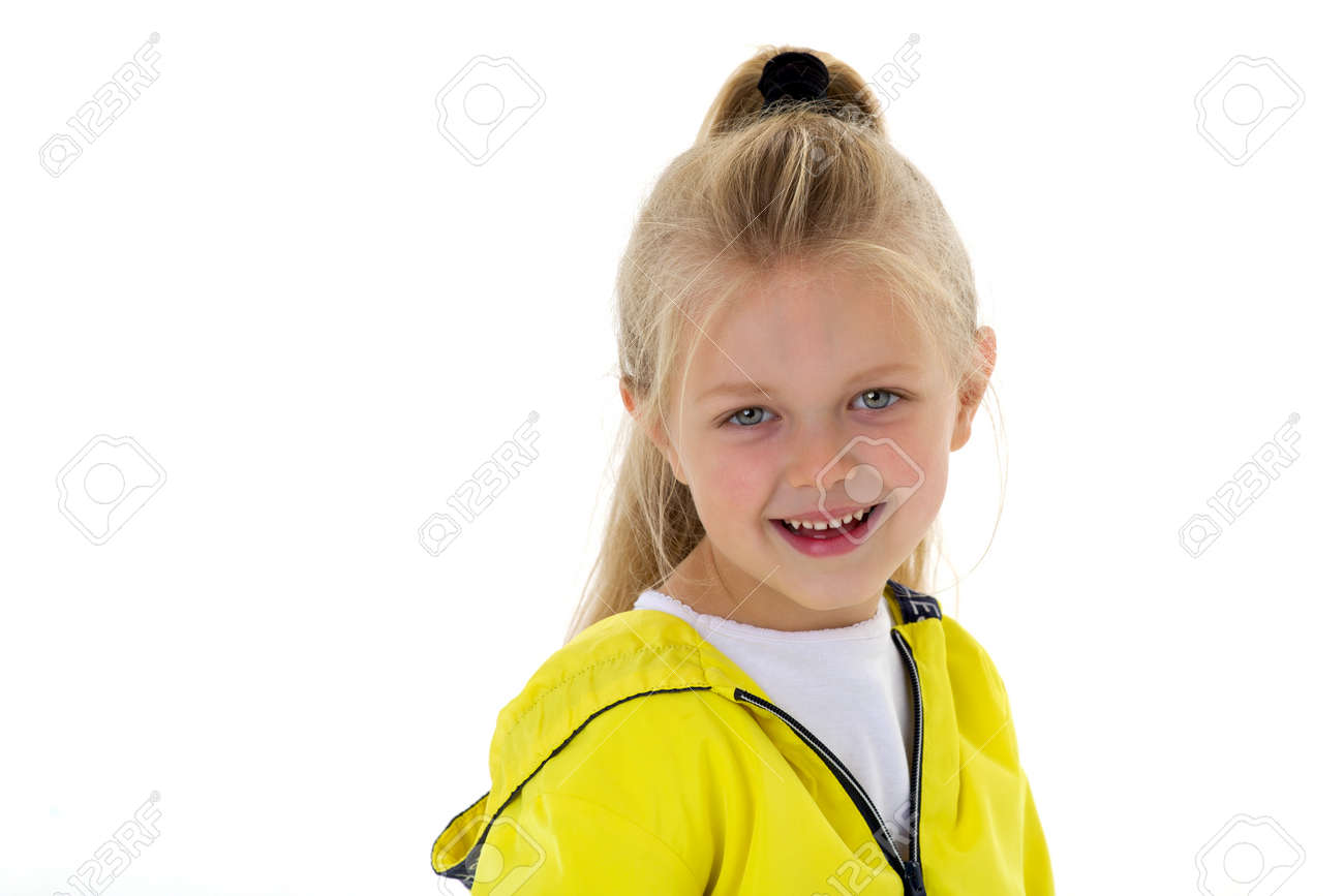 Portrait of a cute six year old girl - 173243996