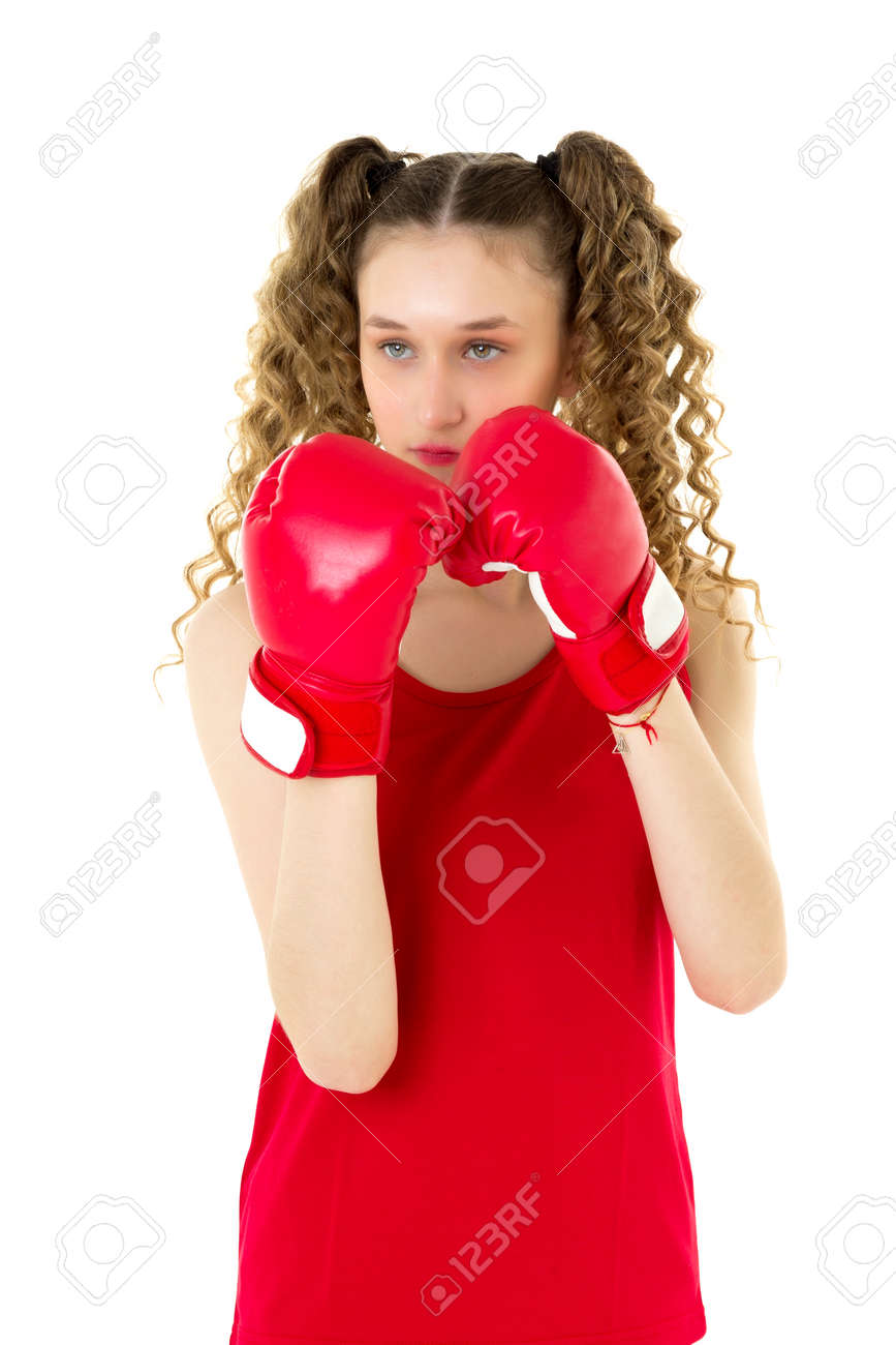 Portrait of girl fighting in red boxing gloves - 173266444