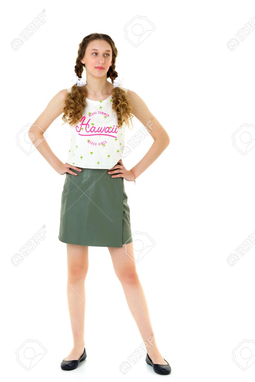 Happy girl in white t-shirt khaki leather skirt - 173271177