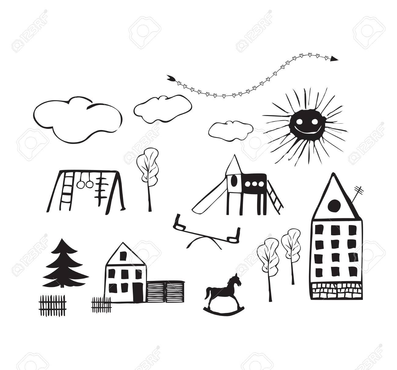 Dibujos Infantiles De Parques Infantiles Casas rboles Nubes Y