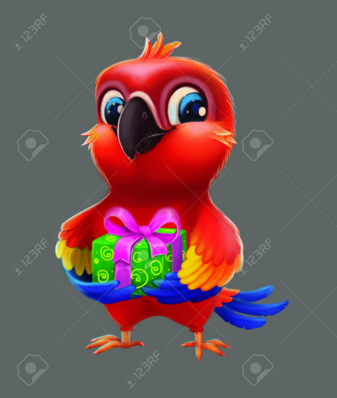 Sonriendo Parakeet Feliz Parrot Dando Partido Presente A Un Amigo Kids Feliz Cumpleanos De Dibujado A Mano Lindo Personaje De Dibujos Animados