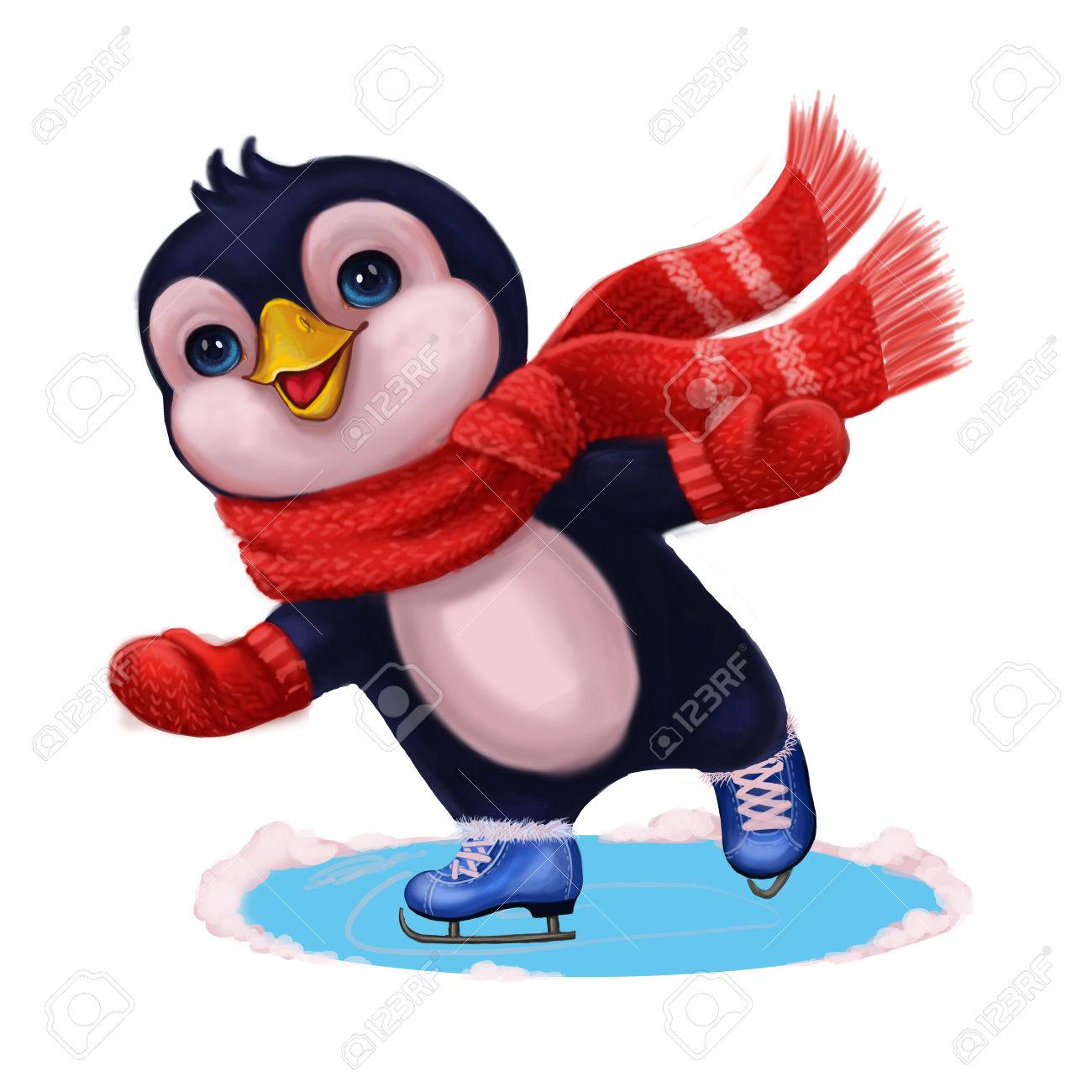 Seasons Greetings With Cute Little Penguin In Funny Scarf Ice