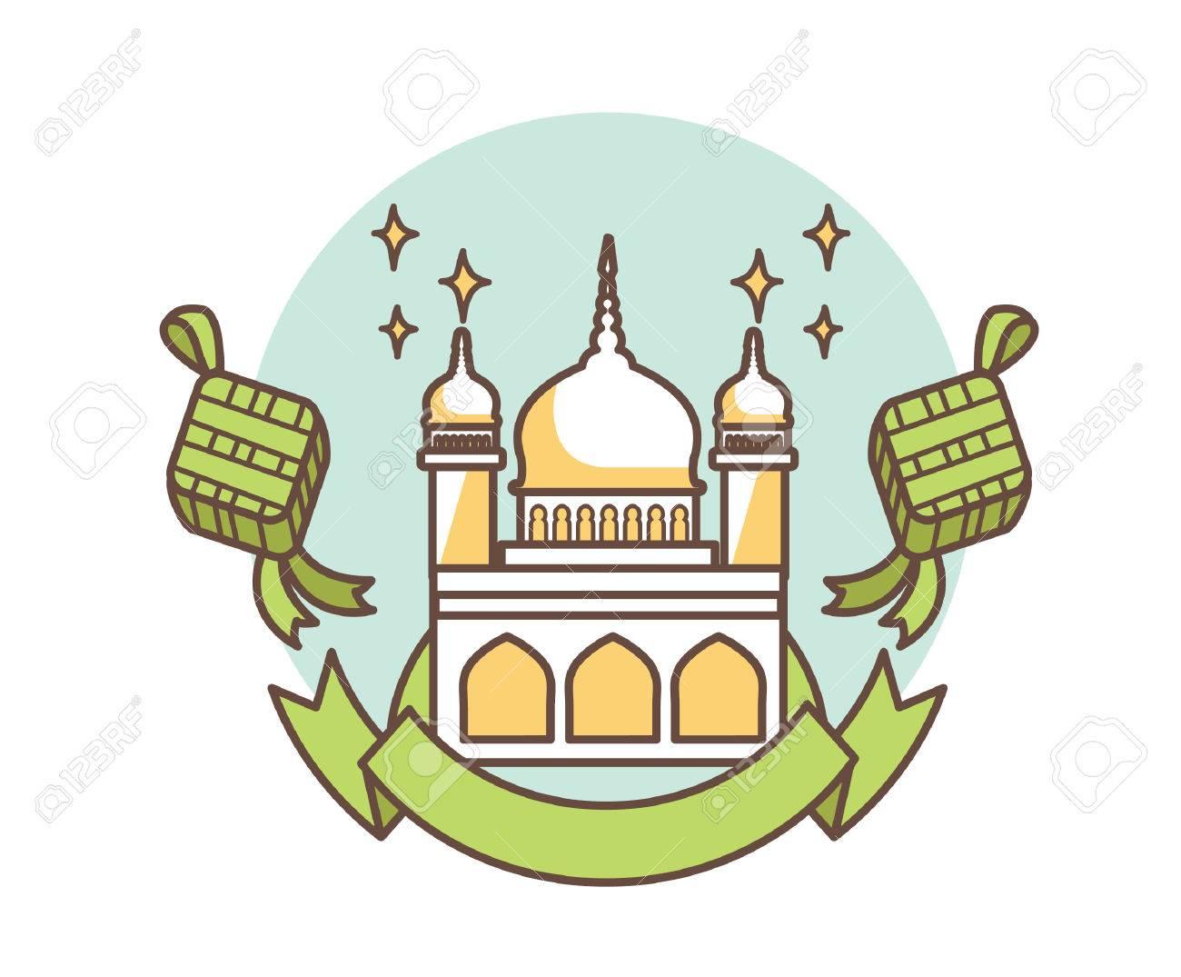 Selamat Hari Raya Aidilfitri With Mosque Building And Ketupat Stock Vector