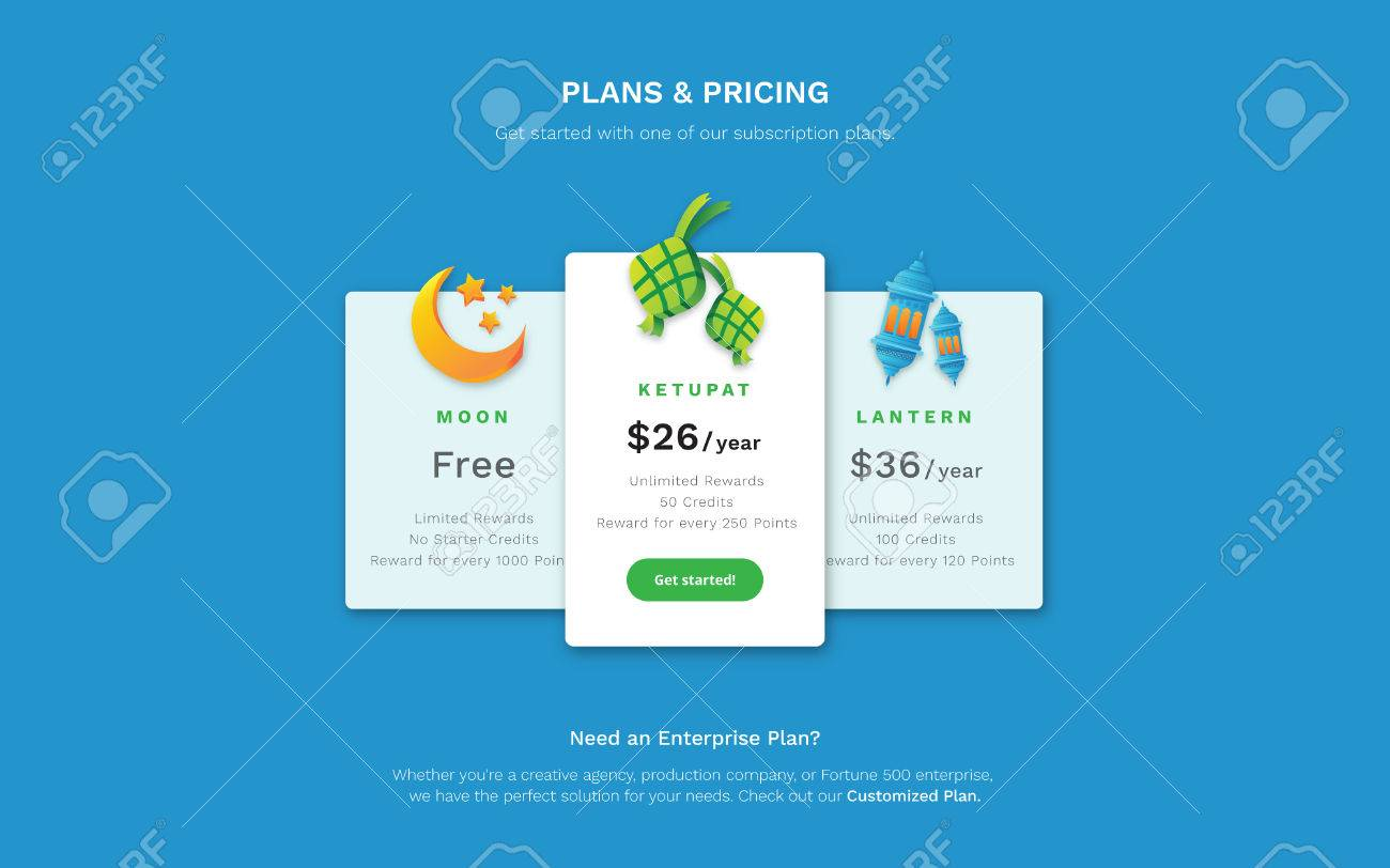 Web design template a pricing page with hari raya aidifitri vector web design template a pricing page with hari raya aidifitri them 3d moon ketupat and islamic lantern maxwellsz