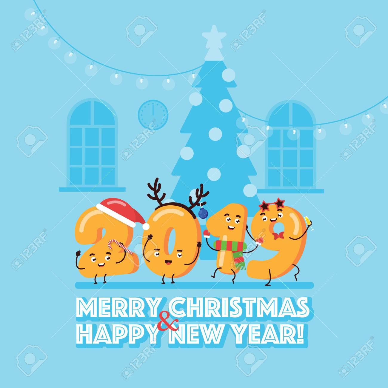 Imagenes Felicitacion Navidad 2019.Feliz Navidad Y Feliz Ano Nuevo Concepto Con Caracter 2019 Tarjeta De Felicitacion Diseno