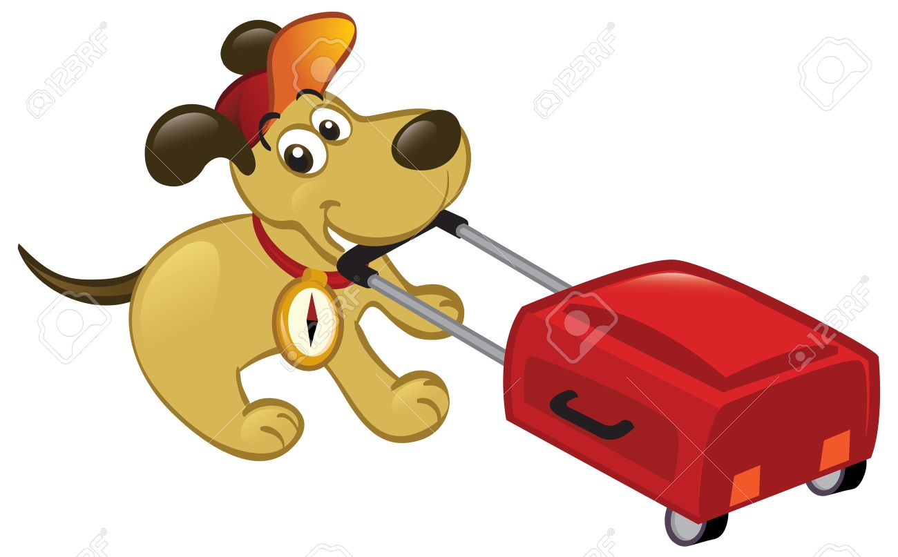 Cute cartoon dog pulling a luggage, ready to travel. - 8125217