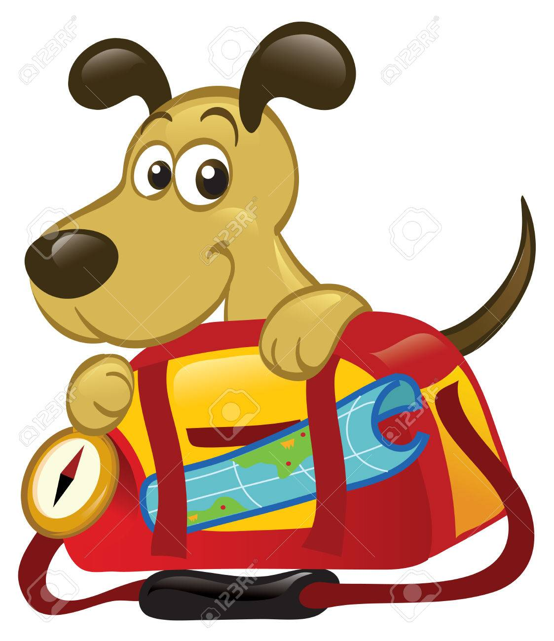 Cute Cartoon Dog Sitting Behind A Big Traveling Bag. Royalty Free ...