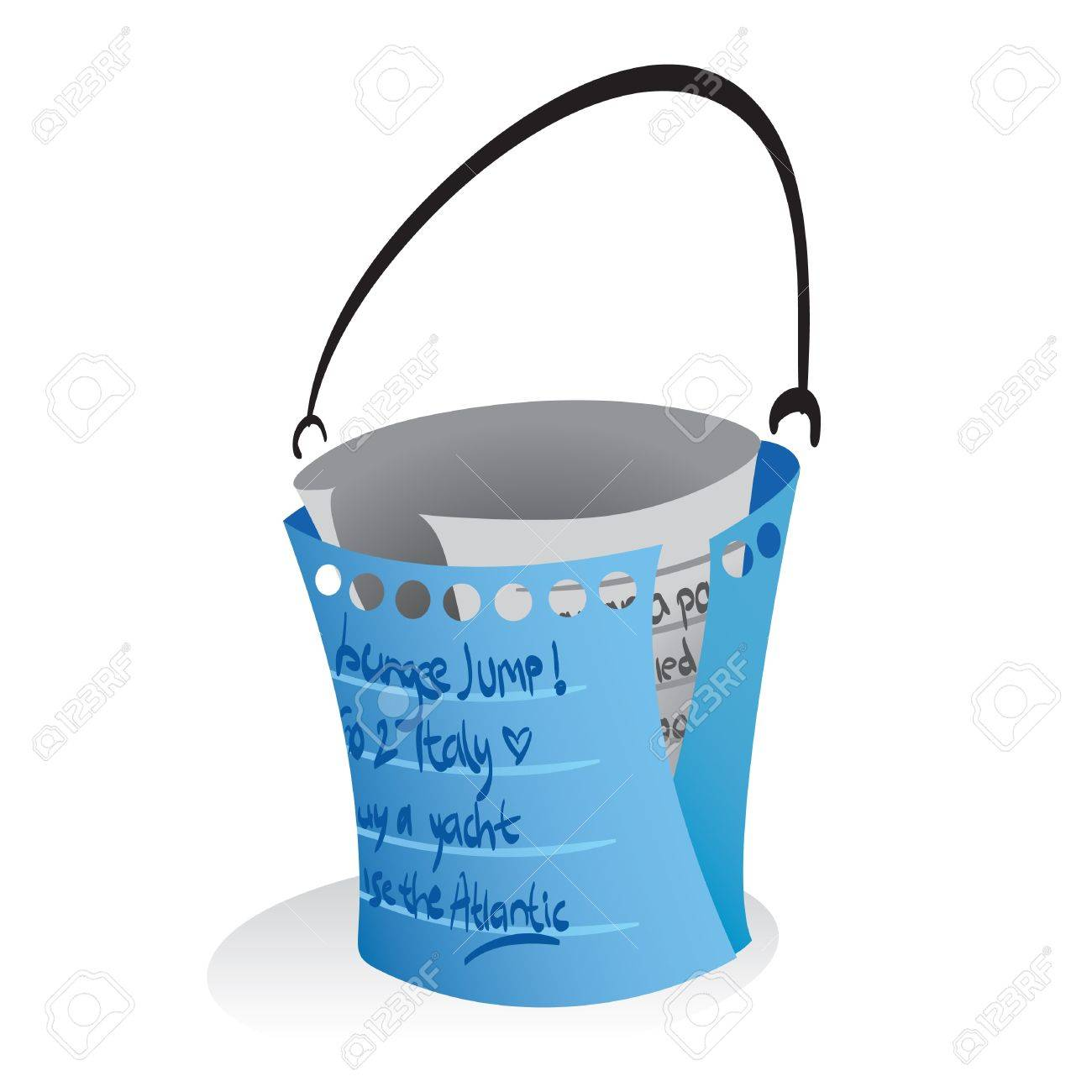 Illustration of a paper notes forming a bucket, a symbolization of 'bucketlist'. - 8446823